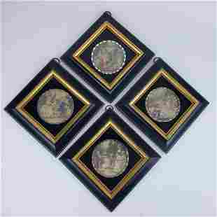 Set of 4 Sungott Handcolored Prints in Eglomise Frames