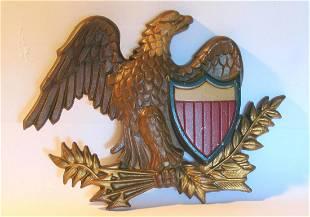 Vintage cast metal eagle & shield wall decoration.