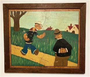 C1940 folk art Popeye puzzle that has been framed