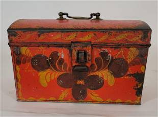 Red Pa decorated tole document box ca 1830's