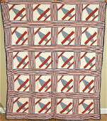 40s WWII Red White  Blue Airplanes Quilt Top