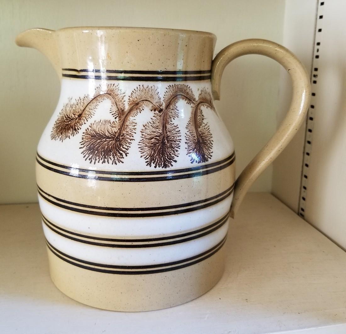 Bi-colored seaweed pitcher, yellowware