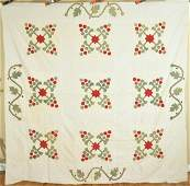 1880's Red & Green Applique Quilt Top