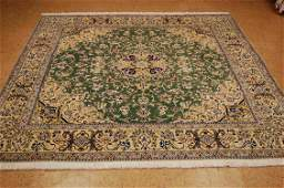 c1970s NEVER USED FINE GREEN FIELD I SFAHAN RUG 6.6x7.2