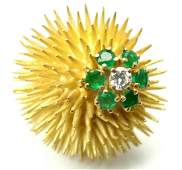 Authentic Tiffany  Co 18k Yellow Gold Diamond Emerald