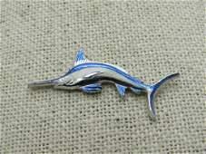 Vintage Enameled Marlin Fish Tack Pin, Ocean City, MD