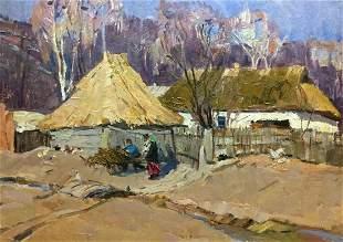 Oil painting Ukrainian houses