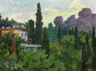 Oil painting Near the cottage