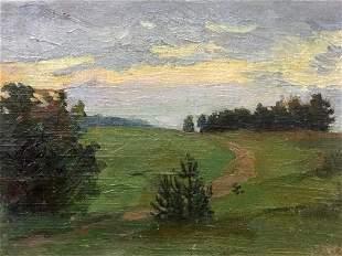Oil painting Evening landscape Petr Alexandrovich Nilus