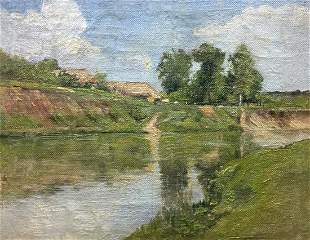Oil painting River bay