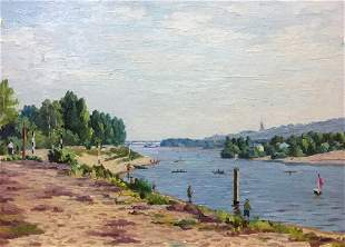 Oil painting Rest by the river Leonid Konstantinovich