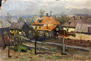 Oil painting Village by the river