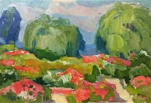 Oil painting Weeping willows Buryachok Nikolai