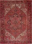 Antique Red Geometric Heriz Persian Area Rug 10x13