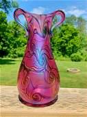 Bohemian Blown Art Nouveau Rose Iridescent Style Glass