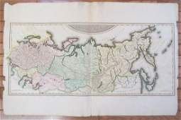 1812 RUSSIAN EMPIRE antique MAP 15 x 34 NAPOLEONIC WAR