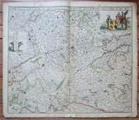 1690 ANTIQUE MAP OF HANNONIA BELGIUM by Frederik de