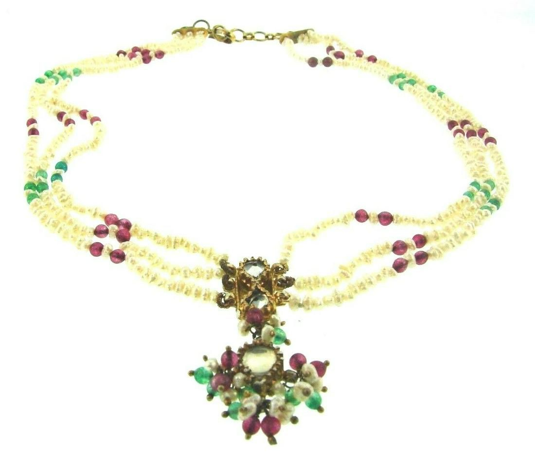 GORGEOUS Indian Pearl, Ruby, Emerald, Silver & Gold