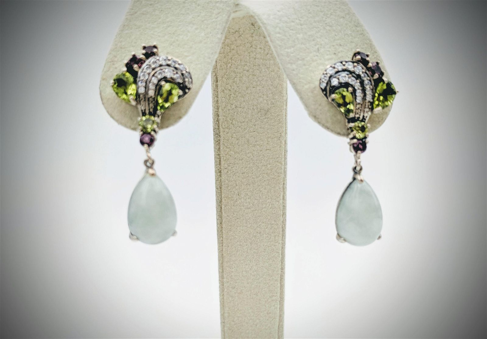 Sterling Silver Earrings w Jade, Peridot, Pink Amethyst