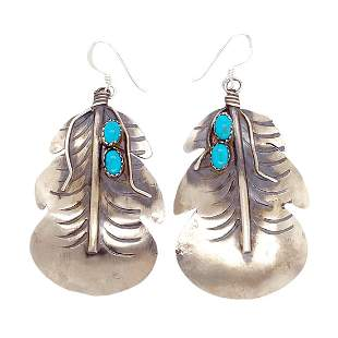 Navajo Turquoise Enlarged Feather Earrings