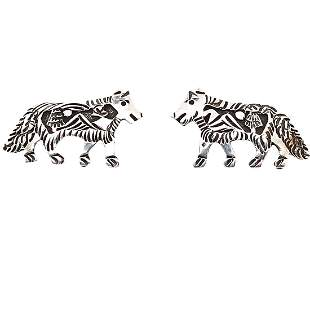 Navajo Wolf Pair Sterling Silver Earrings