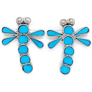 Zuni Dragonfly Sleeping Beauty Inlay Earrings