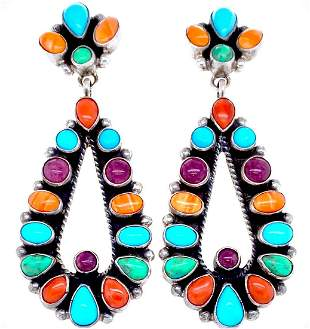 Navajo Multistone Teardrop Empress Post Earrings