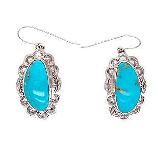 Navajo Turquoise Mountain Oblong Sterling Silver
