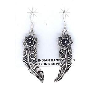 Navajo Feathers And Flowers Sterling Silver Earrings