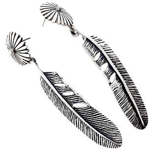 Navajo Daisy Feather Sterling Silver Earrings