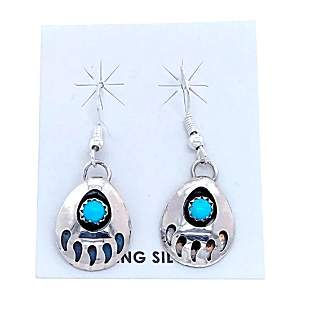 Navajo Bear Paw Sterling Silver Earrings J. Spencer