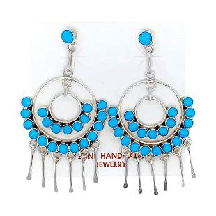Zuni Semicircle Turquoise Dangle Earrings