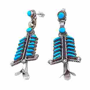 Zuni Sleeping Beauty Turquoise Needle Point Earrings -