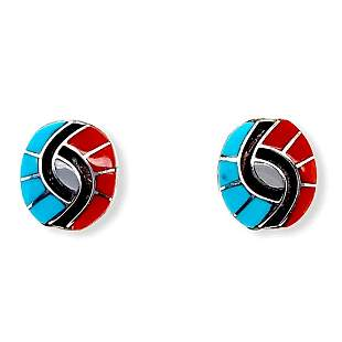 Zuni Turquoise, Coral & Mother of Pearl Swirl Earrings