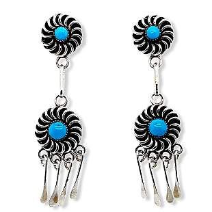 Zuni Sleeping Beauty Turquoise Sun Swirl Dangle