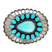 Navajo Turquoise Teardrop Blossom Belt Buckle