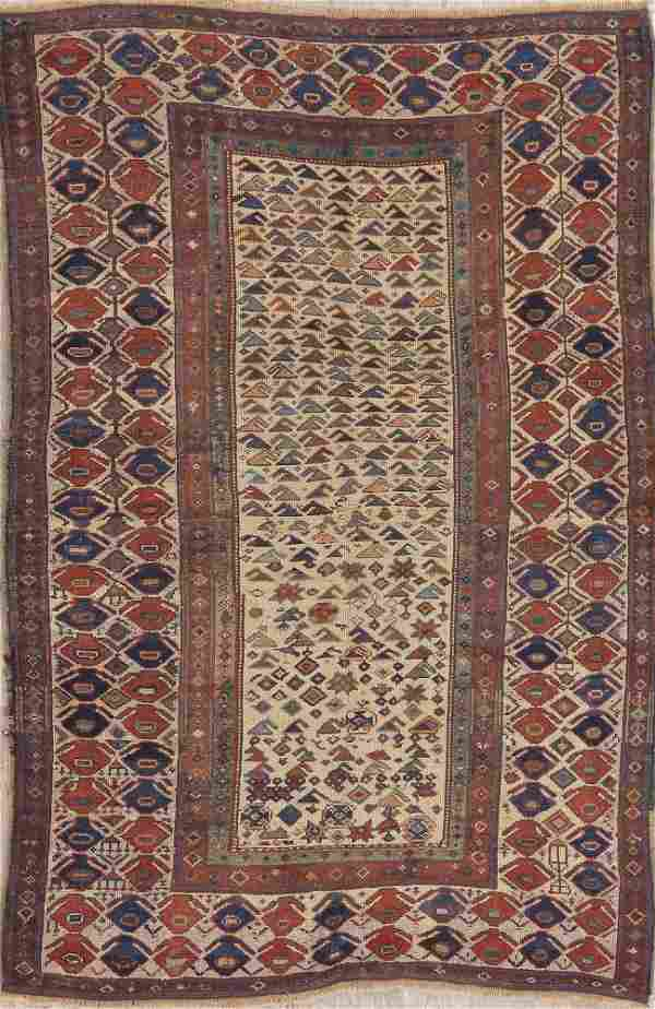 Pre-1900 Antique Vegetable Dye Kazak Caucasian Rug 5x7