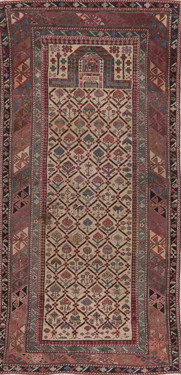 Pre-1900 Antique Vegetable Dye Kazak Oriental Rug Wool