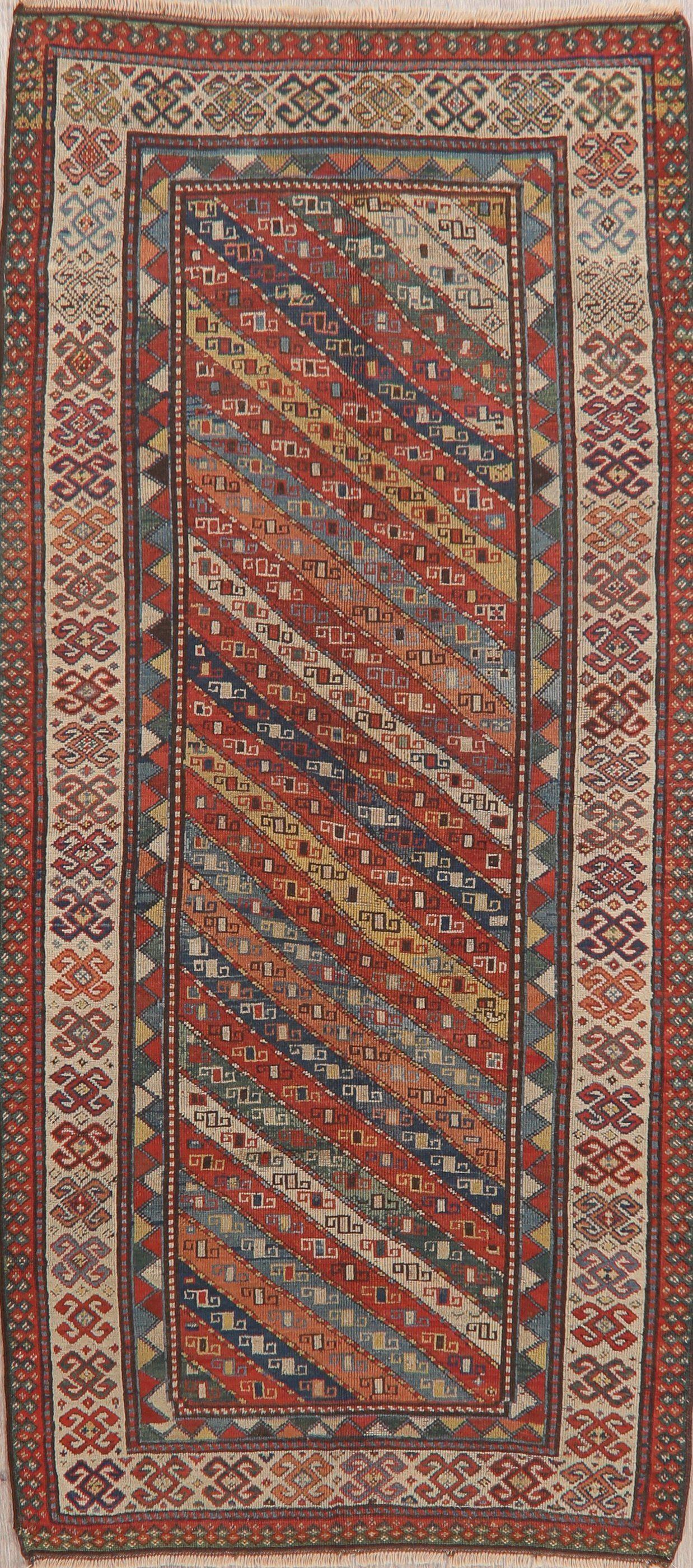 Pre-1900 Antique Vegetable Dye Kazak Caucasian Oriental