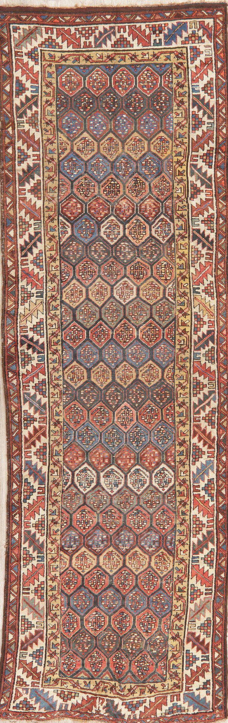 Pre-1900 Antique Vegetable Dye Kazak Caucasian Runner