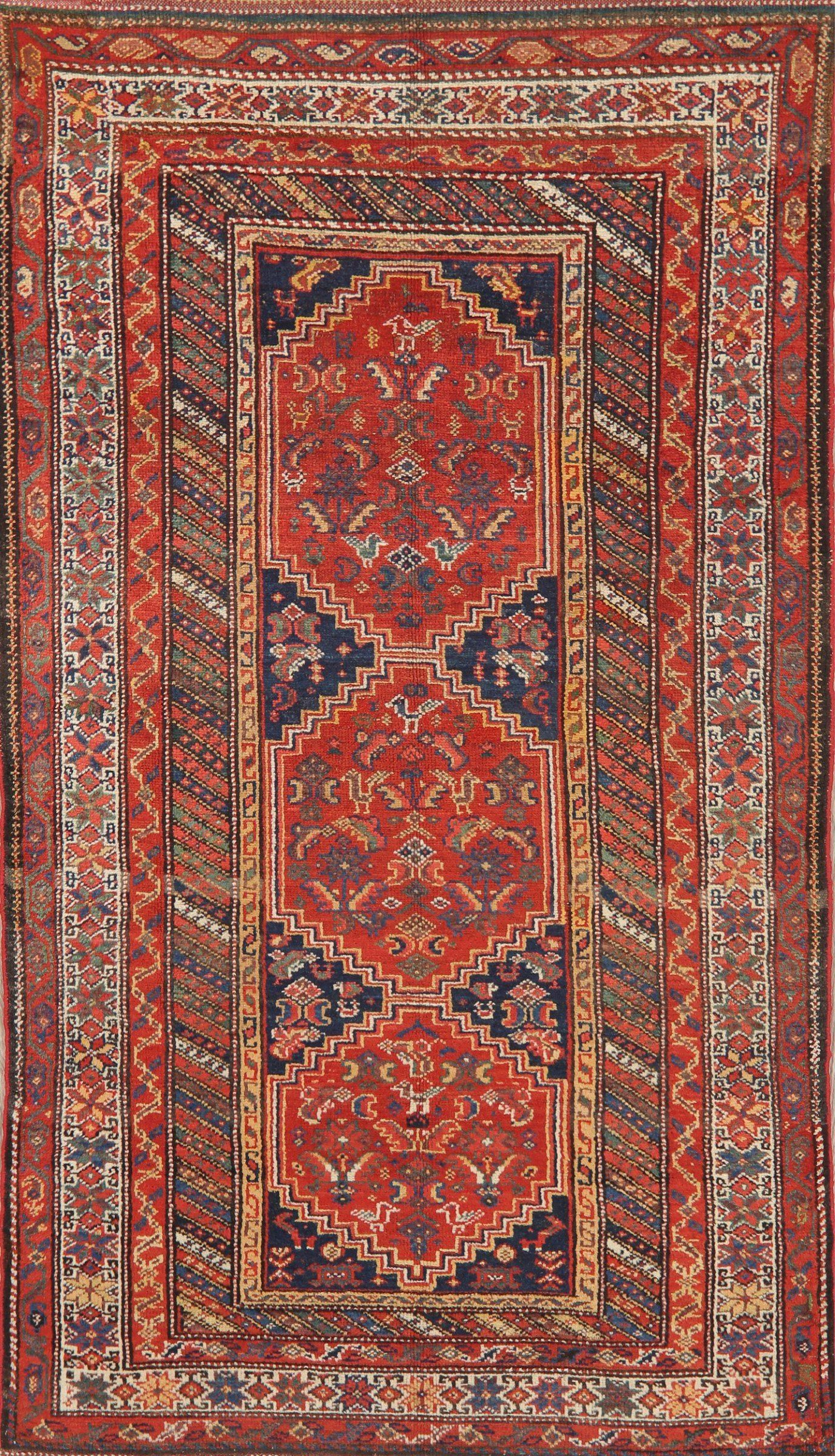 Pre-1900 Antique Vegetable Dye Bidjar Persian Area Rug