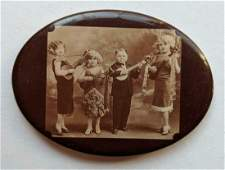 c1930 PHOTO POCKET MIRROR, DOLL FAMILY CIRCUS SIDESHOW,