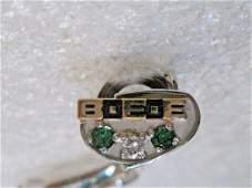Vintage 10kt Diamond Emerald BEE Tie Tack, Clasp,