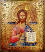 ANTIQUE 19c HAND PAINTED RUSSIAN ICON CHRIST