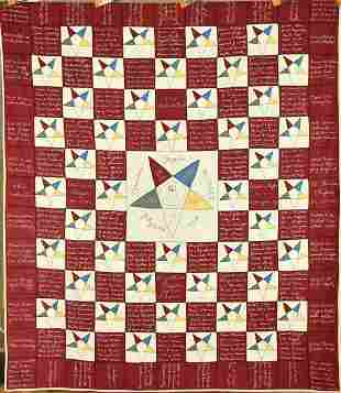 "Eastern Star Signature Quilt Dated ""1922"""