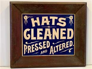 c. 1890 HATS CLEANED PRESSED AND ALTERED Sign