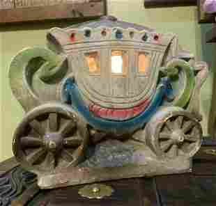 1940's Chalkware CARRIAGE Lamp Cinderella Princess