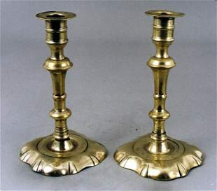 A good small pair of English brass ruffled base