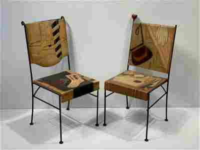 "Pair Trompe l'Oeil Dressing Chairs, ""His"" and ""Hers"""