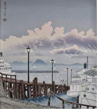 Tokuriki: Evening View of Hamaotsu